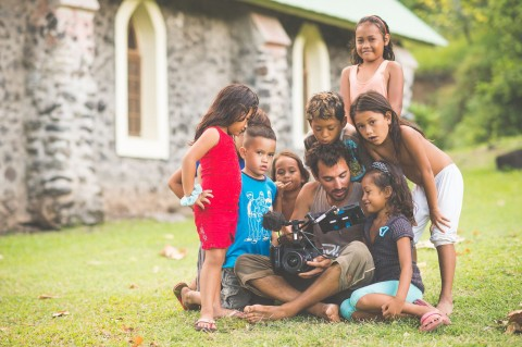 Shooting with the kids of Tahuata (Marquesas Islands) in Pacific Ocean